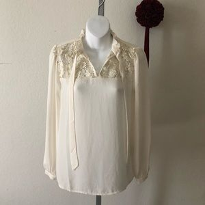 Halogen Cream Silk Blend Blouse Size XS